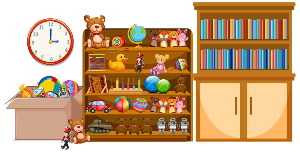 Porzadkowanie zabawek i książek w pokoju dzieciecym